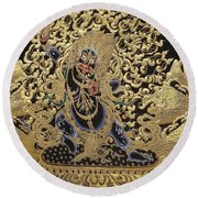 Tibetan Thangka - Vajrapani - Protector And Guide Of Gautama Buddha Round Beach Towel