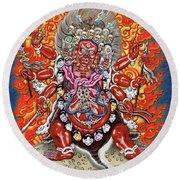Tibetan Thangka  - Wrathful Deity Hayagriva Round Beach Towel