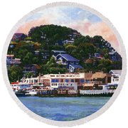 Tiburon California Waterfront Round Beach Towel