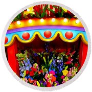 Ticket Booth Of Flowers Round Beach Towel