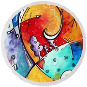 Tickle My Fancy Original Whimsical Painting Round Beach Towel by Megan Duncanson