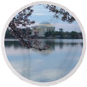 Tidal Basin Blossoms - Jefferson Memorial Round Beach Towel
