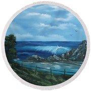 Tidal Eye Round Beach Towel by Cynthia Adams