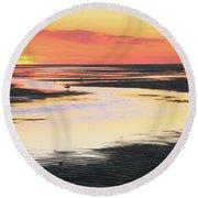 Tidal Flats At Sunset Round Beach Towel