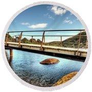 Tidal River Bridge Round Beach Towel