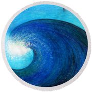 Tidal Wave. Power And Beauty Round Beach Towel