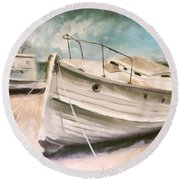 Tide Is Out Round Beach Towel