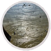 Tides Out After The Storm Round Beach Towel