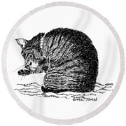 Tidying Up - Art By Bill Tomsa Round Beach Towel