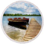 Tied To The Jetty Round Beach Towel