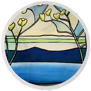 Tiffany And Blossoms Stained Glass Round Beach Towel