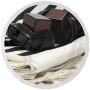 Tifillin And Talis Round Beach Towel