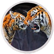 Tiger 05 Round Beach Towel