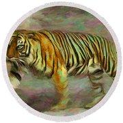 Save Tiger Round Beach Towel