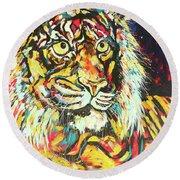 Tiger #2 Round Beach Towel