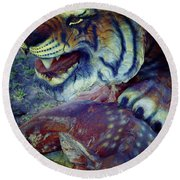 Tiger And Deer Round Beach Towel