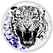 Tiger And Paisley Round Beach Towel