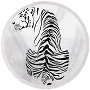 Tiger Animal Decorative Black And White Poster 4 - By  Diana Van Round Beach Towel