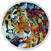 Tiger Big Colors Round Beach Towel