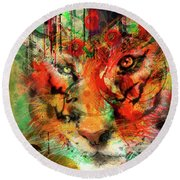 Tiger Burning Bright Round Beach Towel