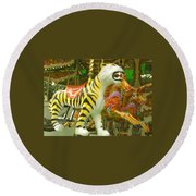 Tiger Carousel Round Beach Towel