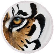 Tiger Eye Round Beach Towel by Lucie Bilodeau