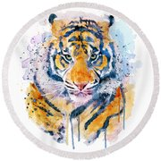 Tiger Face Round Beach Towel