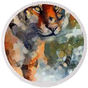 Tiger Hotty Totty Style Round Beach Towel