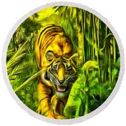 Tiger In The Forest Round Beach Towel