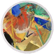 Tiger In The Jungle By Franz Marc Red And Yellow Tiger On The Prowl Round Beach Towel