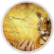Tiger In The Sun Round Beach Towel