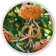 Tiger Lilies Art Prints Canvas Summer Tiger Lily Flowers Round Beach Towel