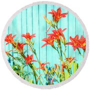 Tiger Lily And Rustic Blue Wood Round Beach Towel