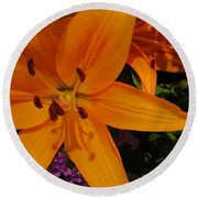 Tiger Lily Bouquet Round Beach Towel