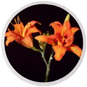 Tiger Lily Flower Opening Part Round Beach Towel