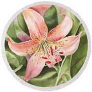 Tiger Lily Watercolor By Irina Sztukowski Round Beach Towel