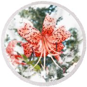 Tiger Lily Round Beach Towel