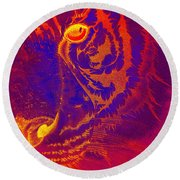 Tiger On Fire Round Beach Towel