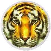 Tiger Painted Round Beach Towel