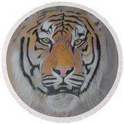 Tiger Portrait Round Beach Towel