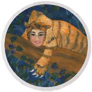Tiger Sphinx Round Beach Towel