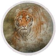Tiger Splash Round Beach Towel