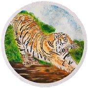 Tiger Stretching Round Beach Towel