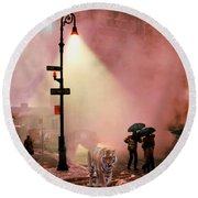 Tiger Suanters The Sloggy Evening Urban Landscape Round Beach Towel