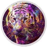 Tiger Surreal Painting Predator  Round Beach Towel