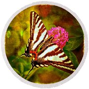 Zebra Swallowtail Butterfly - Digital Paint 3 Round Beach Towel