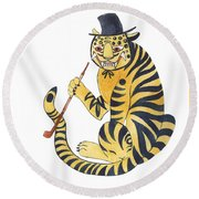 Tiger With Pipe Round Beach Towel