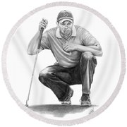 Tiger Woods Crouching Tiger Round Beach Towel