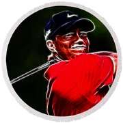 Tiger Woods Round Beach Towel by Paul Ward