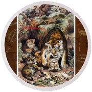Tigers For Responsible Tourism Round Beach Towel